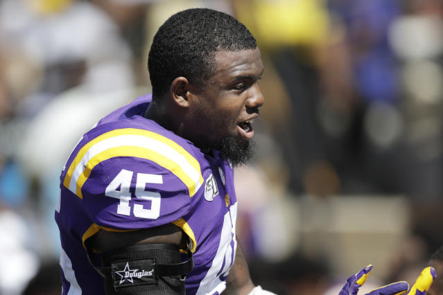 LSU linebacker Michael Divinity Jr. has been removed from the team days before the Alabama game. (AP)