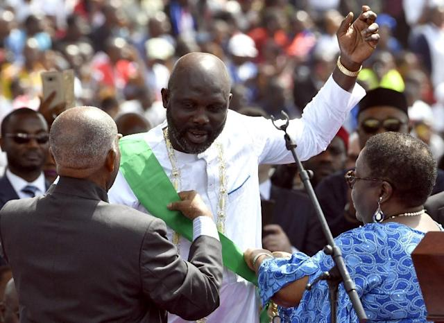 Tim Weah's father, George, was sworn as Liberia's president in January (AFP Photo/ISSOUF SANOGO)