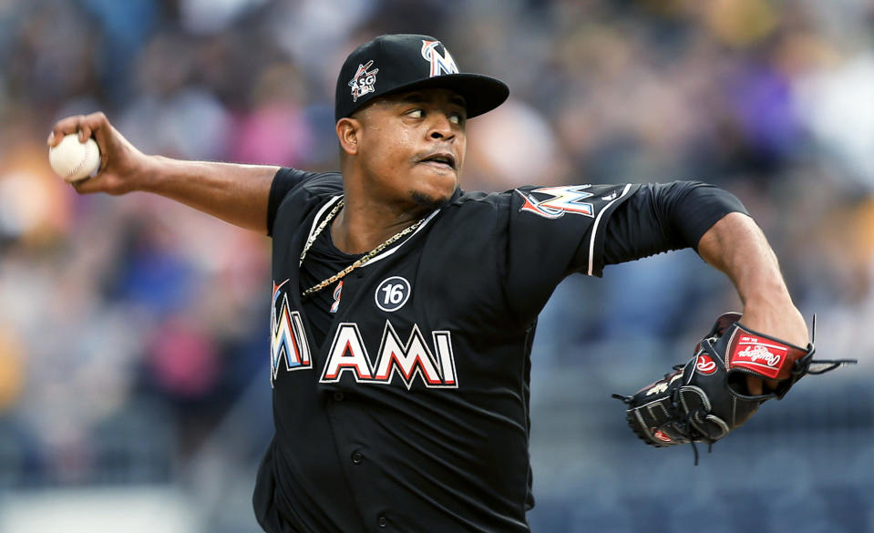 Edinson Volquez's no-hitter stands out as a big moment for the Marlins in 2017. (AP Photo/Keith Srakocic, File)