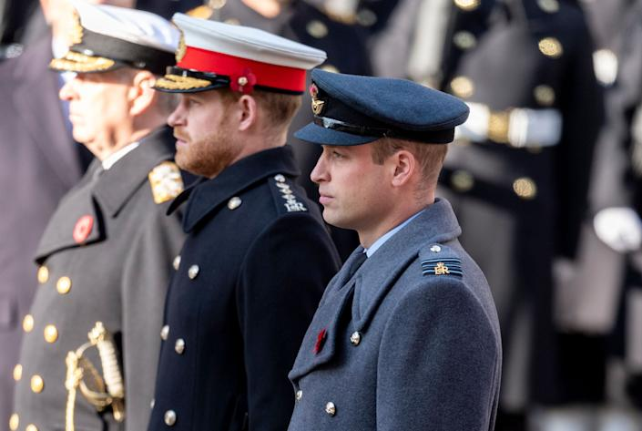 William and Harry attend the annual Remembrance Sunday memorial at The Cenotaph on Nov. 10, 2019 in London.  (Photo: Mark Cuthbert via Getty Images)