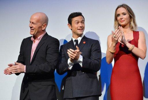 "(L-R) Bruce Willis, Joseph Gordon-Levitt and Emily Blunt attend the ""Looper"" opening night gala premiere during the 2012 Toronto International Film Festival on September 6, 2012 in Toronto, Canada"