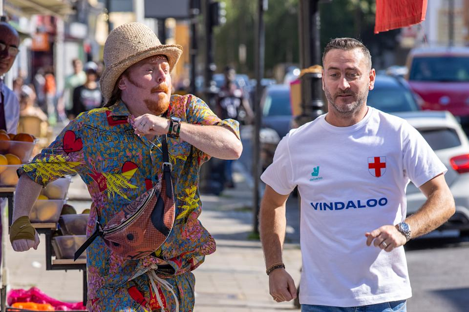 Keith Lemon and Will Mellor were spotted today filming scenes, in Hoxton, for a new charity music video called�Vindaloo Part Two, which has been supported and backed by�Deliveroo�to raise funds for the NHS, as proceeds from the sale of the song will go to NHS charities.�It�s rumoured more celebrity faces will appear in the video to support the charity single. The release date is yet to be revealed but it�s believed to be in time for the first UEFA EURO 2020 England game. (Photo by Phil Lewis / SOPA Images/Sipa USA)