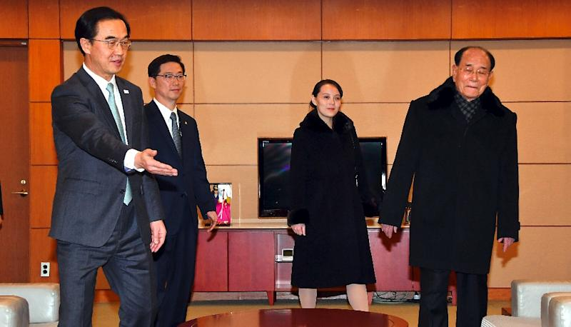 North Korea's head of state Kim Yong Nam (R), who had a brief exchange with UN Secretary-General Antonio Guterres at a dinner, is seen here on his arrival in South Korea with Kim Yo Jong (C), North Korean leader Kim Jong Un's younger sibling