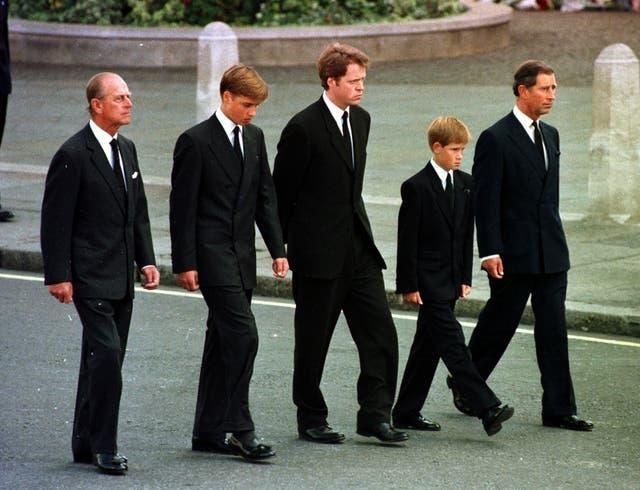 The Prince of Wales, Prince William, Prince Harry, Earl Althorp and Duke of Edinburgh walk behind Diana, the Princess of Wales' funeral cortege