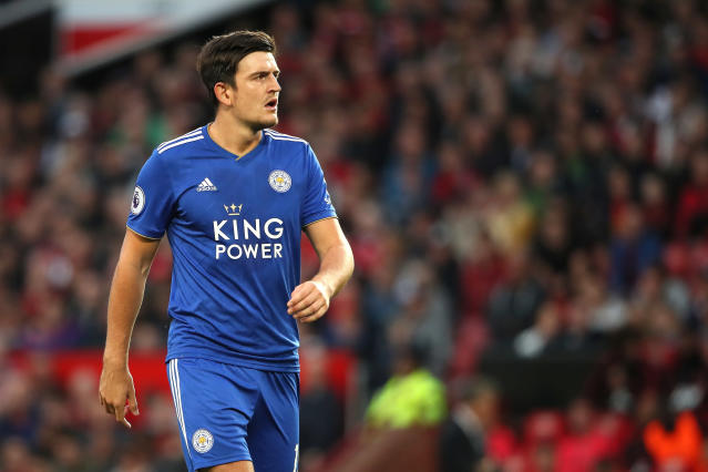 Harry Maguire has signed for Manchester United from Leicester City for a world-record fee of £80 million. The 26-year-old penned a six year deal at Old Trafford in August 2019 to beat the record set the year before by Virgil van Dijk. United became the fourth Premier League side in a row to break the transfer record for a defender. (Credit: Getty Images)