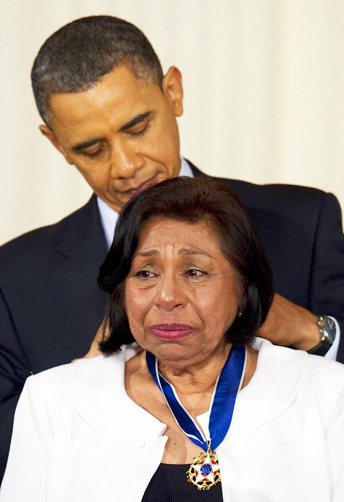 Image: President Barack Obama awards the 2010 Medal of Freedom to civil rights activist Sylvia Mendez at the White House on Feb. 15, 2011. (Jim Watson / AFP via Getty Images file)