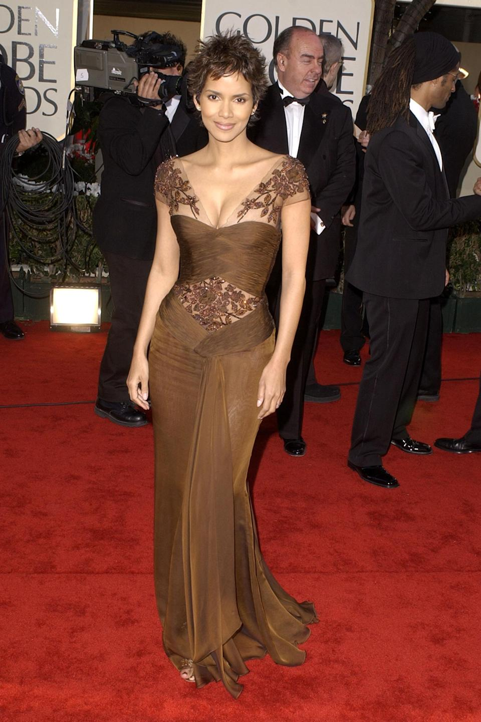 """<strong><h2>2002</h2></strong><br>Only Halle Berry could pull off arguably the hardest color on the red carpet: chocolate brown. Then again, we're still looking for something Halle Berry <em>doesn't</em> look perfect in.<br><br><em>Halle Berry in Valentino.</em><span class=""""copyright"""">Photo: SGranitz/WireImage.</span>"""