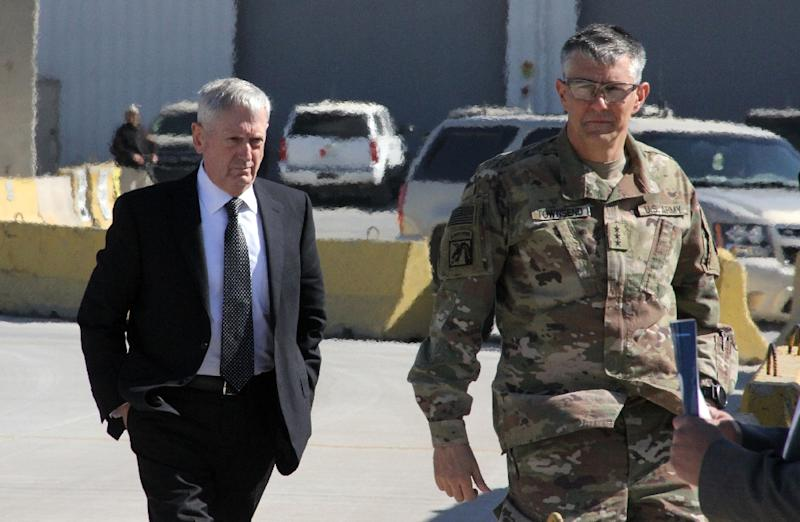 Lieutenant General Stephen Townsend (R) welcomed Defense Secretary Jim Mattis to Baghdad in February. Townsend said Iraq has expressed interest in having US and coalition forces remain after the Islamic State group is defeated