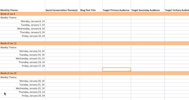 Content Marketing Editorial Calendar Template 2014