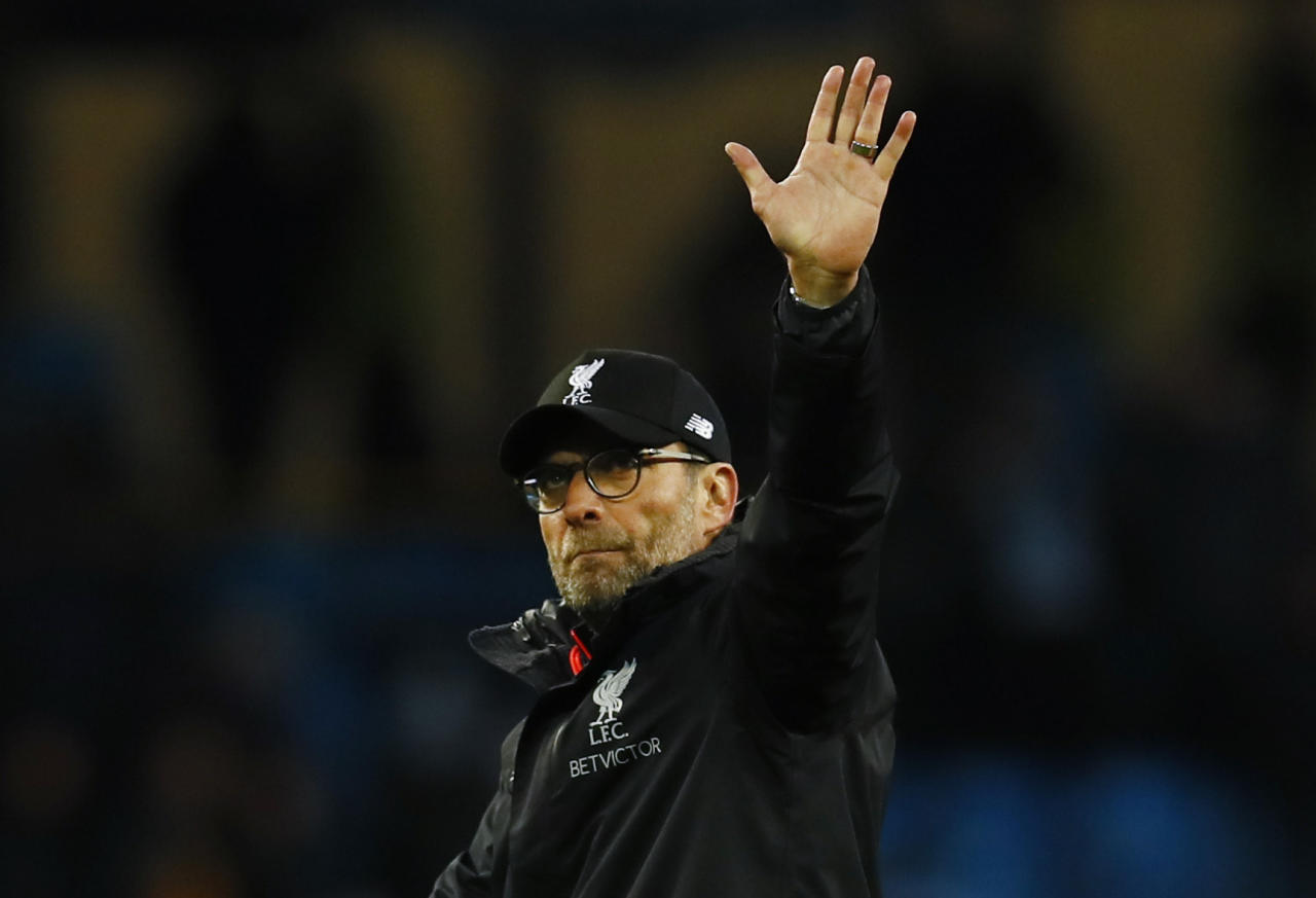"Britain Soccer Football - Manchester City v Liverpool - Premier League - Etihad Stadium - 19/3/17 Liverpool manager Juergen Klopp gestures to fans after the game Action Images via Reuters / Jason Cairnduff Livepic EDITORIAL USE ONLY. No use with unauthorized audio, video, data, fixture lists, club/league logos or ""live"" services. Online in-match use limited to 45 images, no video emulation. No use in betting, games or single club/league/player publications.  Please contact your account representative for further details."