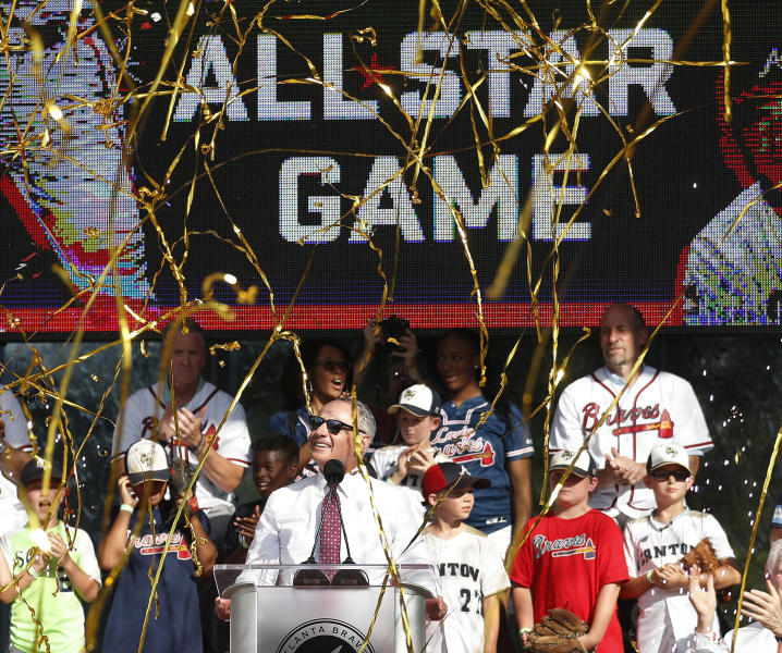 Baseball Commissioner Rob Manfred announces that Atlanta will host the 2021 All-Star Game, Wednesday, May 29, 2019, in Atlanta. (AP Photo/John Bazemore)
