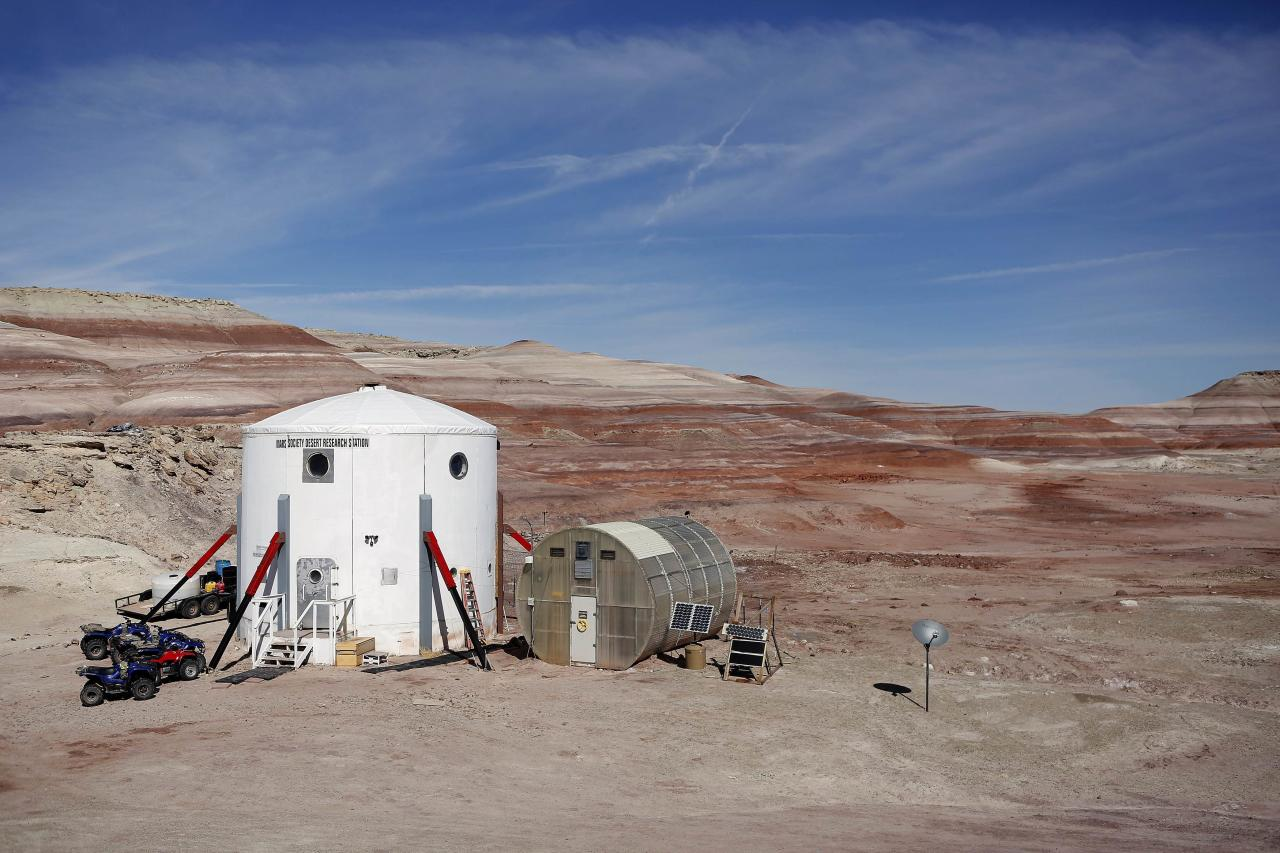 ÍThe Mars Desert Research Station (MDRS) is seen in the Utah desert March 2, 2013. The MDRS aims to investigate the possibility of a human exploration of Mars and uses the Utah desert's Mars-like terrain to simulate working conditions on the red planet. Scientists, students and enthusiasts work together to develop field tactics and study the terrain while wearing simulated spacesuits and carrying air supply packs. They live together in a small communication base with limited space and supplies. Picture taken March 2, 2013. REUTERS/Jim Urquhart