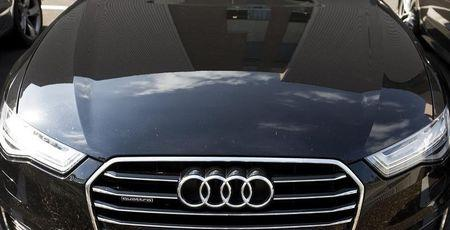 The Audi powerplant  is reflected in an Audi in Brussels