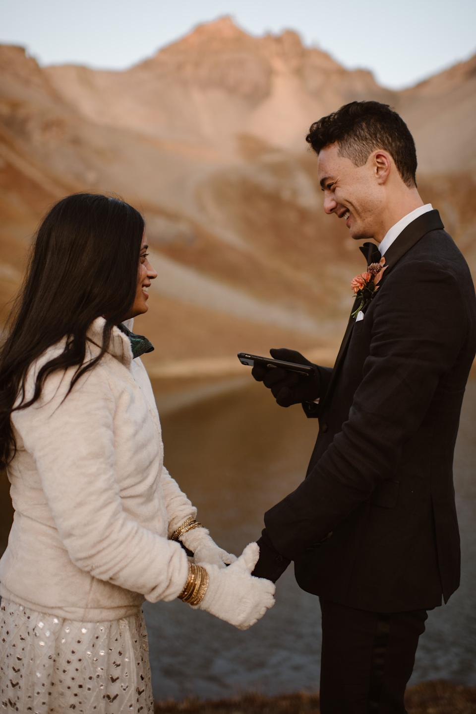 """They said their """"I do's"""" in San Juan National Forest in Colorado. (Photo: <a href=""""https://adventureinstead.com/"""" target=""""_blank"""">Adventure Instead - Elopement Photographers & Guides</a>)"""