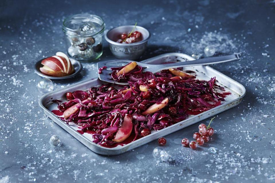 "<p>Red cabbage is a perfect side dish for a festive meal</p><p><strong>Recipe: <a href=""https://www.goodhousekeeping.com/uk/food/recipes/a538123/braised-red-cabbage/"" rel=""nofollow noopener"" target=""_blank"" data-ylk=""slk:Braised red cabbage"" class=""link rapid-noclick-resp"">Braised red cabbage</a></strong></p>"