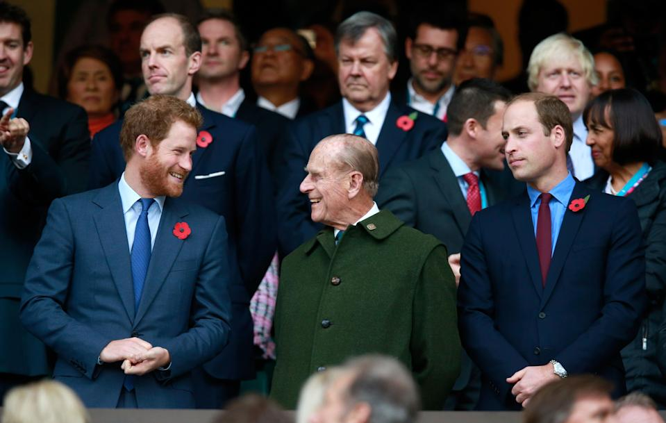 Prince Harry, Prince Phillip and Prince William enjoy the atmosphere during the 2015 Rugby World Cup FinalGetty Images