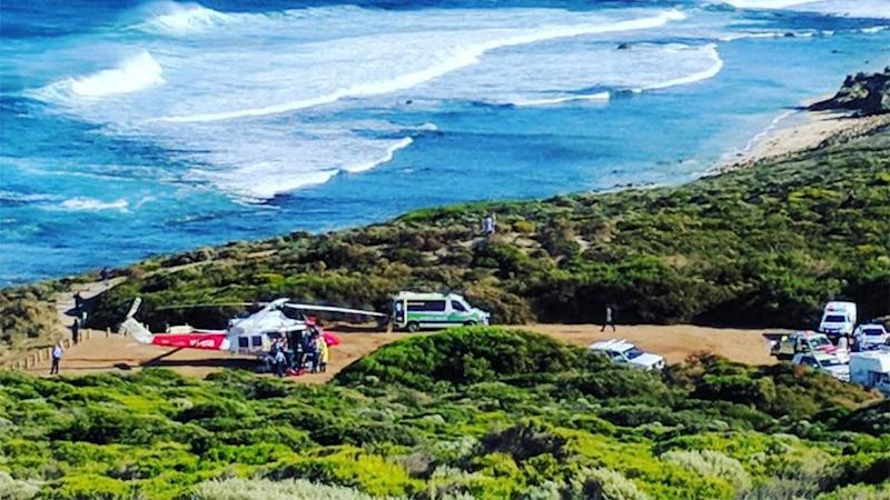 A rescue helicopter has taken a man, aged in his 30s, to Royal Perth Hospital following a shark attack. Source: Instagram/ Sam Robbo