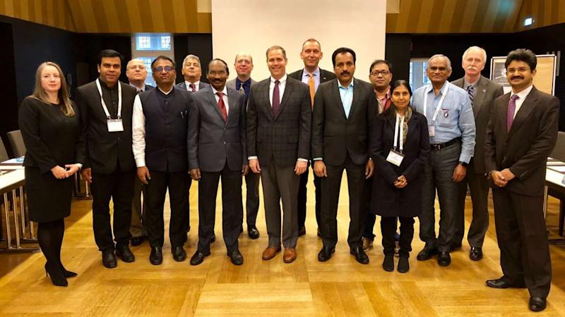 Representatives from ISRO and NASA at the International Astronautical Congress 2018 (IAC2018). Image credit: IAC2018
