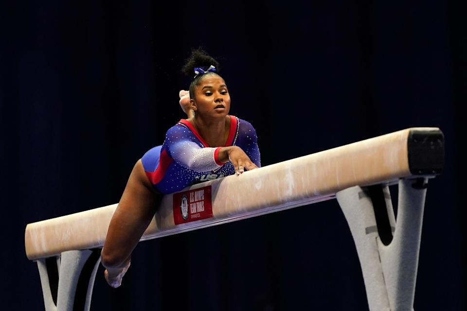 Jordan Chiles competes on the beam during the 2021 U.S. Gymnastics Olympic Trials on June 25, 2021, in St Louis, Missouri.