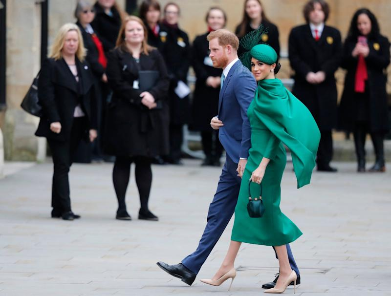 Meghan carrying a Gabriela Hearst bag on her final engagement as a senior royal - AP