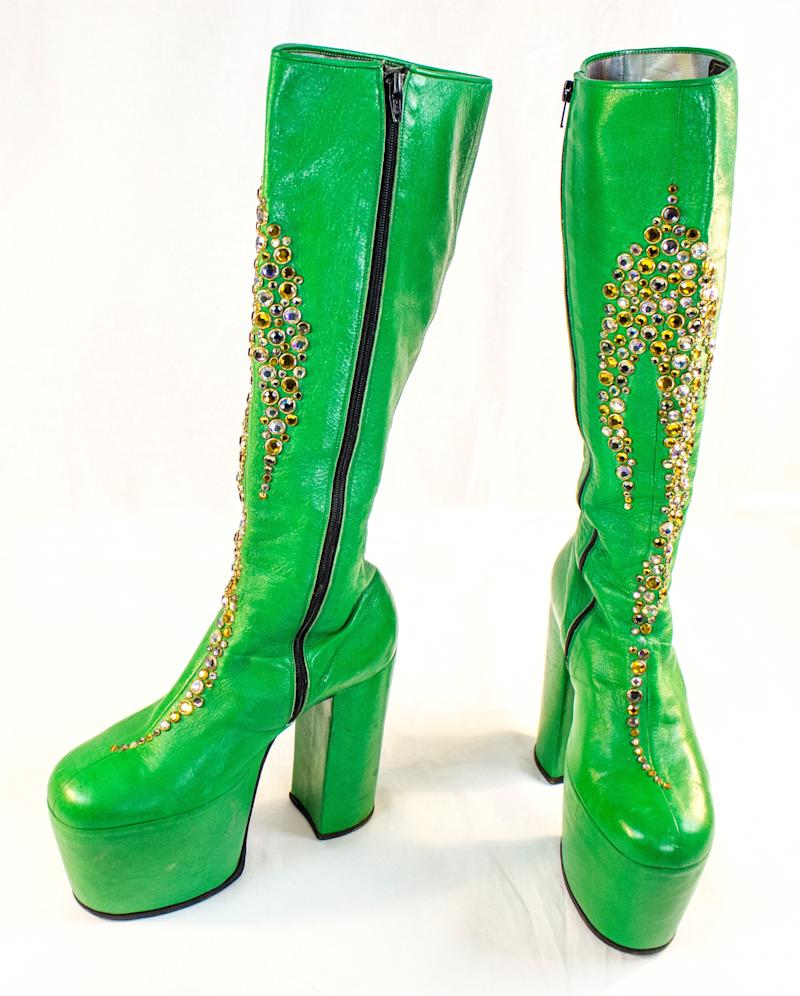In the late 70s, Peter Criss wore these boots during publicity events and photo sessions while promoting the KISS Dynasty tour. The 2014 Rock and Roll Hall of Fame Inductee exhibit opens May 31, 2014 in Cleveland, Ohio.