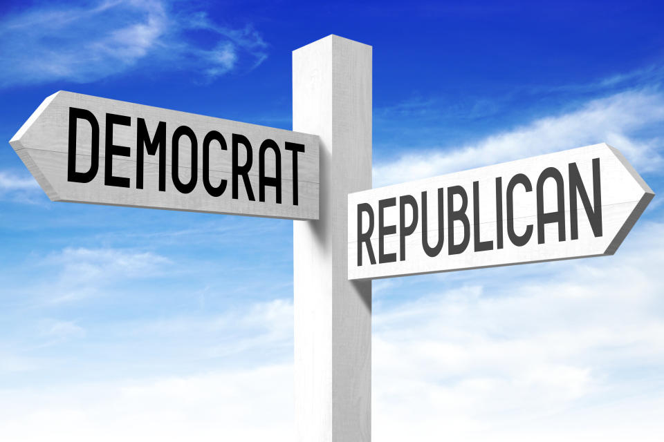 "White wooden signpost/ crossroads sign with two arrows - ""democrat"", ""republican""."