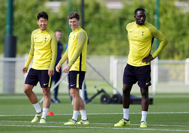 Tottenham Hotspur's Son Heung-min, Ben Davies and Moussa Sissoko during training Action Images via Reuters/Andrew Couldridge