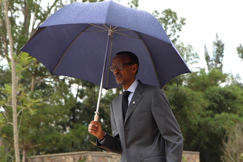 Rwandan President Paul Kagame arrives on April 7, 2015 to lay a wreath at the Gisozi memorial in Kigali, marking 21 years since the 1994 genocide which claimed the lives of 800,000 people over 100 days (AFP Photo/Stephanie Aglietti)