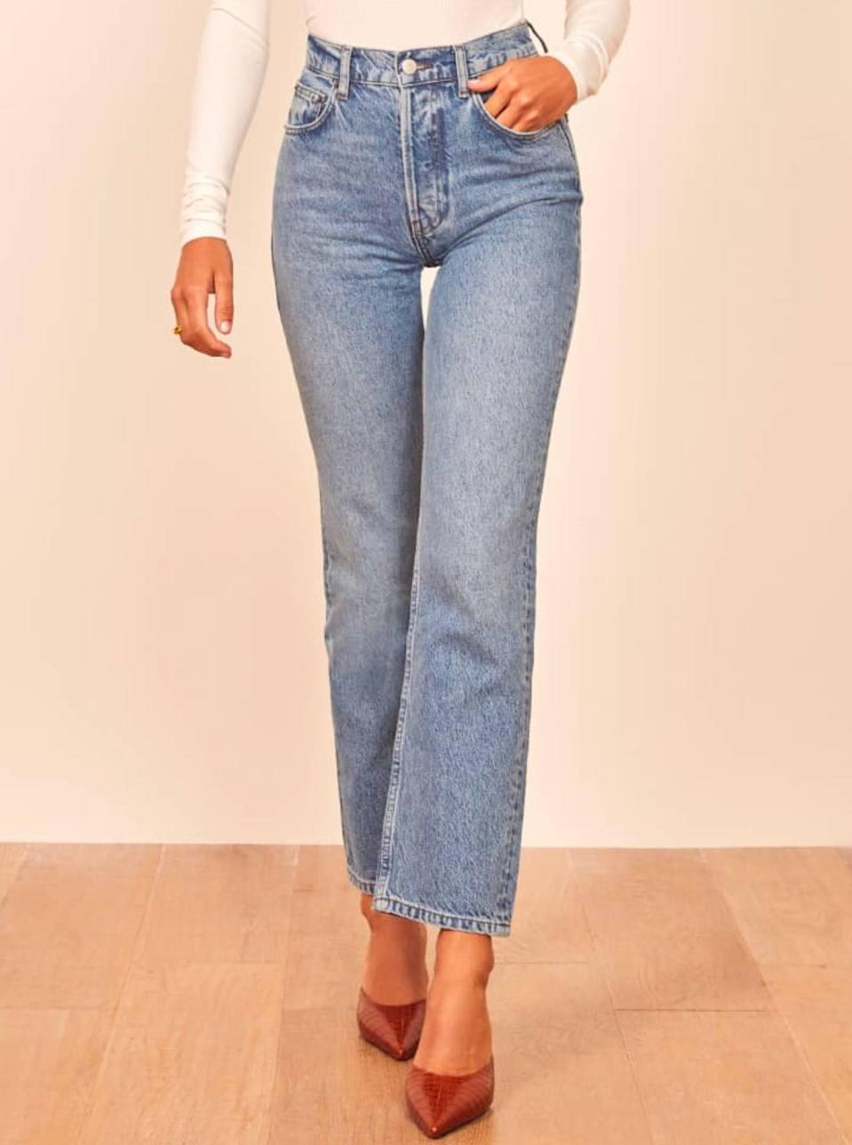"""$128, Reformation. <a href=""""https://www.thereformation.com/products/cynthia-high-relaxed-jean?"""" rel=""""nofollow noopener"""" target=""""_blank"""" data-ylk=""""slk:Get it now!"""" class=""""link rapid-noclick-resp"""">Get it now!</a>"""