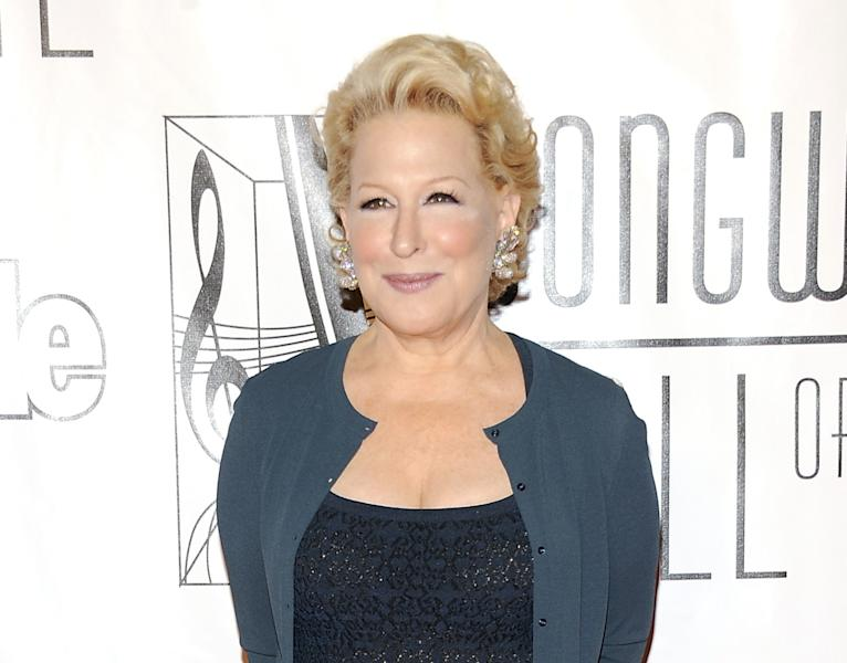 """FILE - This June 14, 2012 file photo shows entertainer Bette Midler at the 2012 Songwriters Hall of Fame induction and awards gala in New York. Midler is box office gold _ her one-woman Broadway show has recouped its $2.4 million investment in just over eight weeks. On Broadway for the first time in 30 years, Midler is playing the wondrously snooty super talent agent in """"I'll Eat You Last: A Chat With Sue Mengers."""" (Photo by Evan Agostini/Invision/AP, file)"""