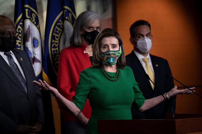 House Speaker Nancy Pelosi (D-Calif.) speaks during a press conference with other House Democratic leaders about COVID-19 financial relief and minimum wage on Capitol Hill on Feb. 26 in Washington, DC. (Photo: BRENDAN SMIALOWSKI via Getty Images)