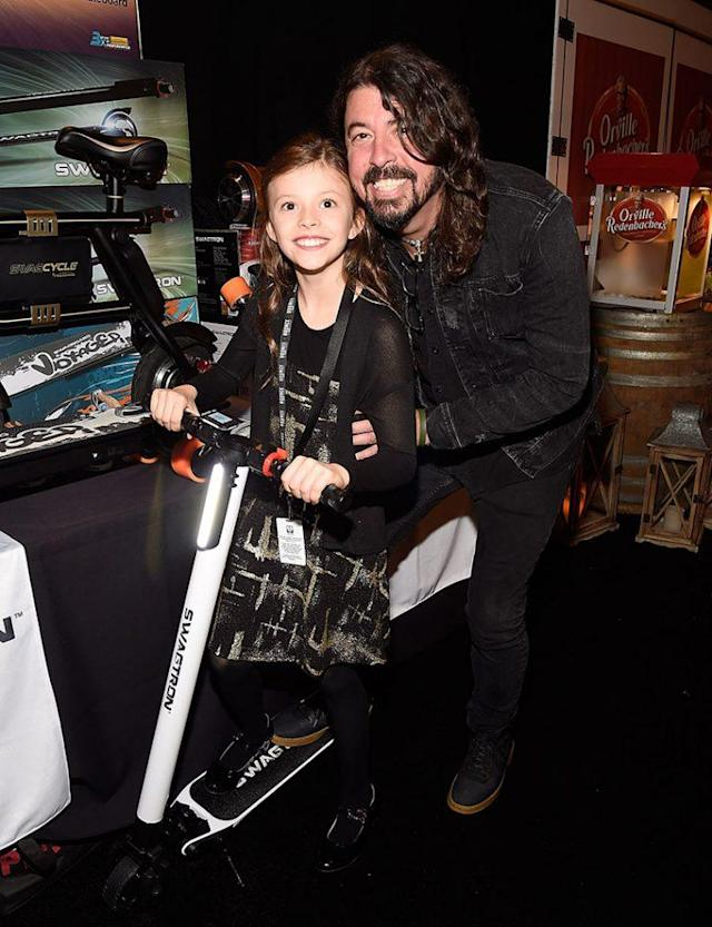Dave Grohl and his daughter Harper are pretty cute hanging together, onstage and off. (Photo: Kevin Mazur/WireImage)