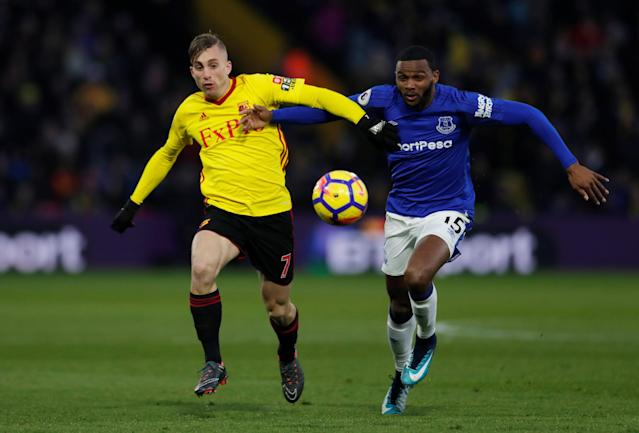 """Soccer Football - Premier League - Watford vs Everton - Vicarage Road, Watford, Britain - February 24, 2018 Everton's Cuco Martina in action with Watford's Gerard Deulofeu Action Images via Reuters/Andrew Couldridge EDITORIAL USE ONLY. No use with unauthorized audio, video, data, fixture lists, club/league logos or """"live"""" services. Online in-match use limited to 75 images, no video emulation. No use in betting, games or single club/league/player publications. Please contact your account representative for further details."""