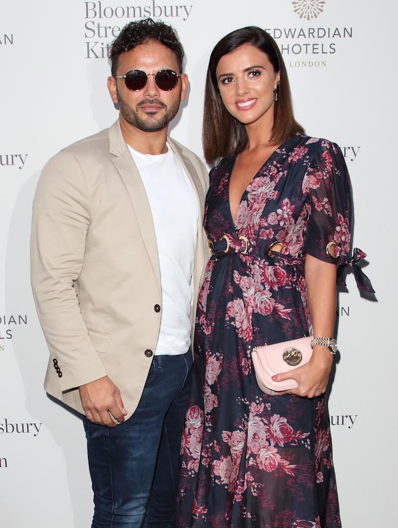 LONDON, UNITED KINGDOM - 2019/08/08: Ryan Thomas and Lucy Mecklenburgh arrive at the Bloomsbury Street Kitchen Restaurant Launch Party in London. (Photo by Keith Mayhew/SOPA Images/LightRocket via Getty Images)