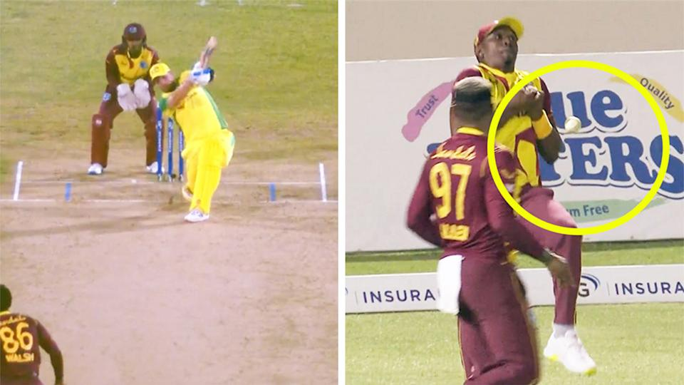 Dwayne Bravo (pictured right) dropping the ball after (pictured right) Aaron Finch hit the ball high into the sky.