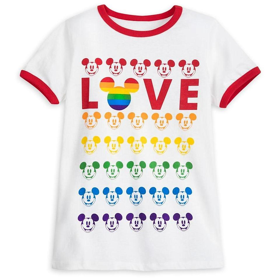 <p>We <em>love</em> everything about this <span>Mickey Mouse Ringer T-Shirt For Adults</span> ($30).</p>
