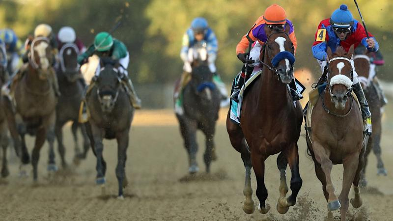 Swiss Skydiver becomes sixth filly to win Preakness Stakes