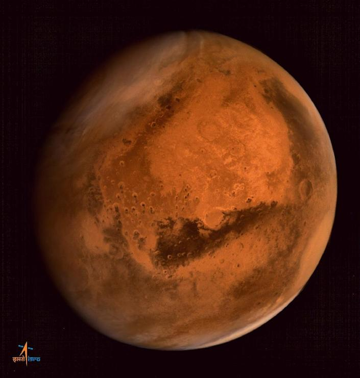 In this photograph received from the Indian Space Research Organisation on September 30, 2014, the planet Mars is seen in an image taken by the ISRO Mars Orbiter Mission spacecraft (AFP Photo/)