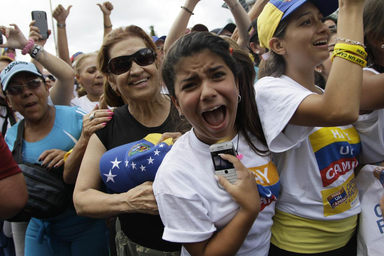 Supporters of opposition Presidential Candidate Henrique Capriles cheer during a campaign rally in Caracas, Venezuela, Sunday, Sept. 30, 2012. Capriles is running against President Hugo Chavez in the country's Oct. 7 election. (AP Photo/Ariana Cubillos)