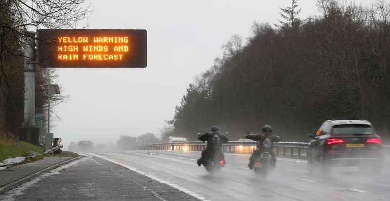 Flights cancelled amid flood alerts as second storm in week hits Britain