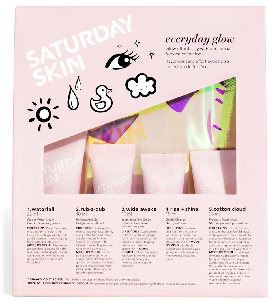 <p>If you need the perfect gift for a K-beauty fan, get the <span>Saturday Skin Everyday Glow Set</span> ($30).</p>
