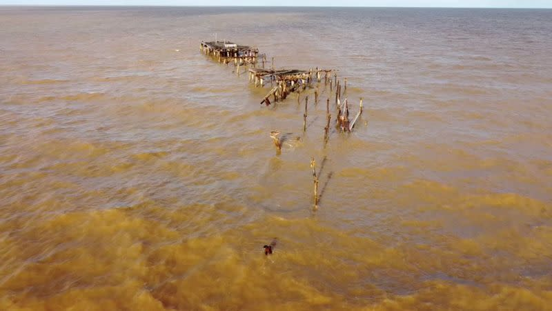 One Mile Jetty is seen destroyed by tropical cyclone Seroja in Carnarvon