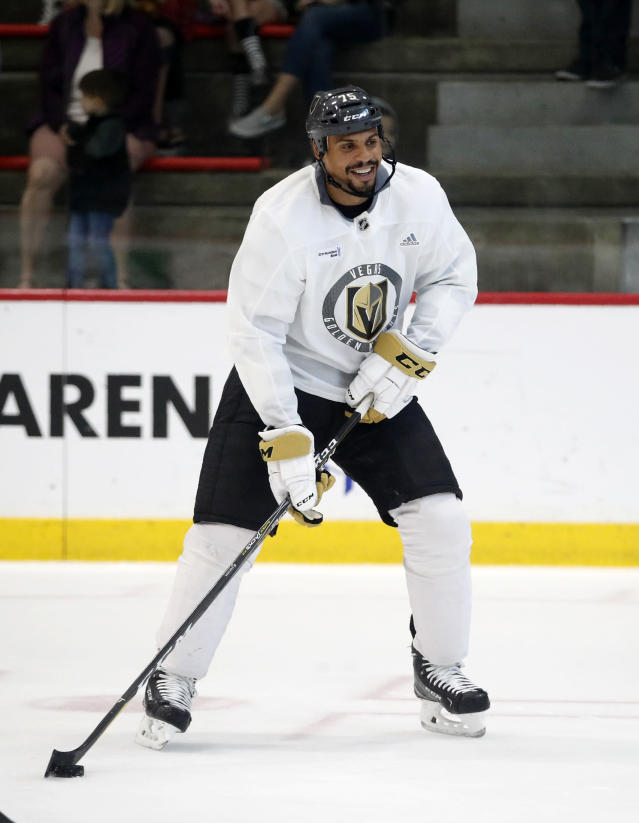 Vegas Golden Knights right wing Ryan Reaves skates during practice Tuesday, May 29, 2018, in Las Vegas. Game 2 of the Stanley Cup NHL hockey finals between Vegas and the Washington Capitals is scheduled for Wednesday. (AP Photo/John Locher)