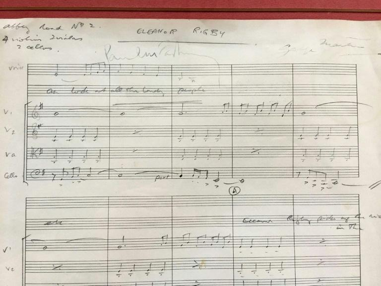 The original score for The Beatles' song Eleanor Rigby that will be auctioned on September 11 as part of the The Beatles Collection sale, in a picture released by Omega Auctions in Warrington, northwest England, on August 21, 2017