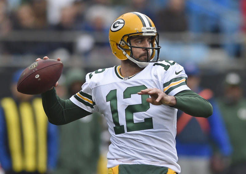Green Bay Packers' Aaron Rodgers returned Sunday from a broken collarbone. (AP)