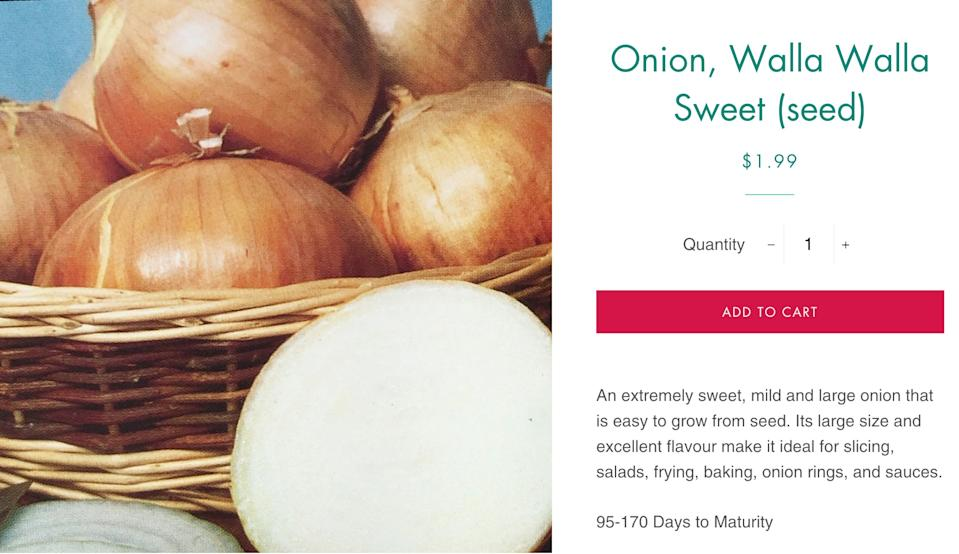 An ad for walla walla onions is pictured.