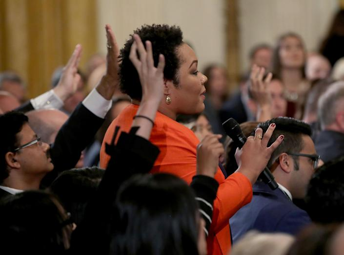 Yamiche Alcindor of PBS NewsHour asks a question to U.S. President Donald Trump after remarks by the President a day after the midterm elections on Nov. 7, 2018 in the East Room of the White House in Washington, D.C. (Photo: Mark Wilson/Getty Images)