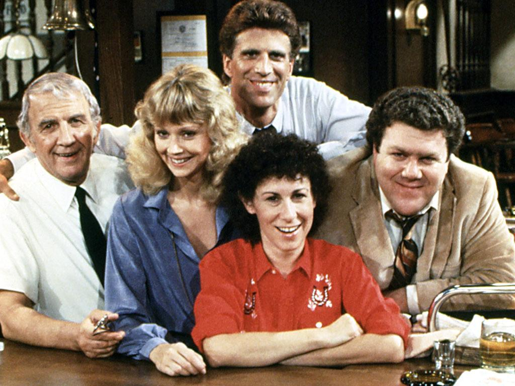 "The cast of ""Cheers"" - Nicholas Colasanto, Shelley Long, Ted Danson, Rhea Perlman, George Wendt, (Season 1), 1982-93"