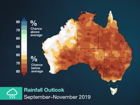 Map from BoM showing small percentage chance of rainfall in Australia's east from September to November.