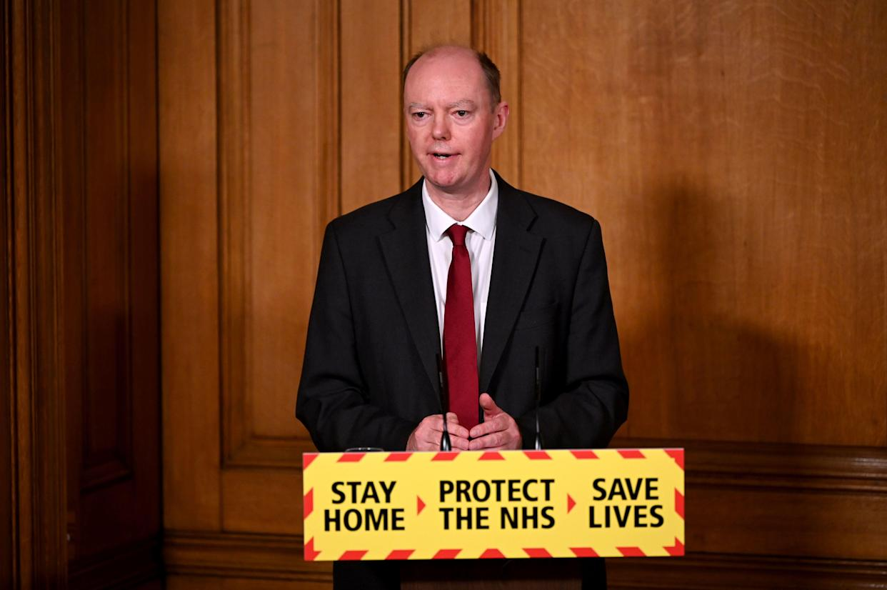 Chief Medical Officer Professor Chris Whitty speaks during a virtual press conference on the novel coronavirus COVID-19 pandemic, at 10 Downing Street in central London on January 22, 2021. - There is